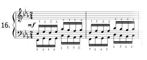 Piano technique exercise N°16 in Eb