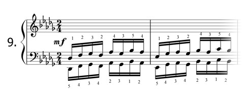 Piano technique exercise N°9 in Db