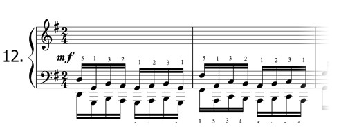 Piano technique exercise N°12 in G