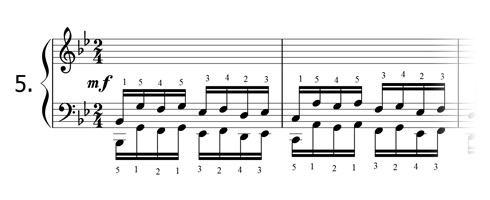 Piano technique exercise N°5 in Bb