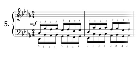Piano technique exercise N°5 in Db