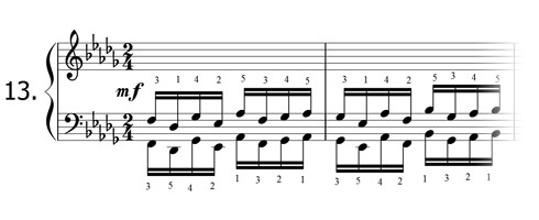 Piano technique exercise N°13 in Db