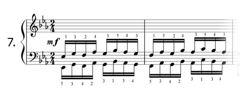 Piano technique exercise N°7 in Eb