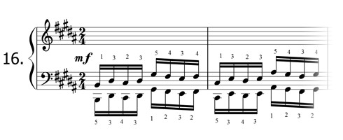 Piano technique exercise N°16 in B