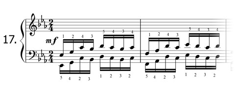 Piano technique exercise N°17 in Eb