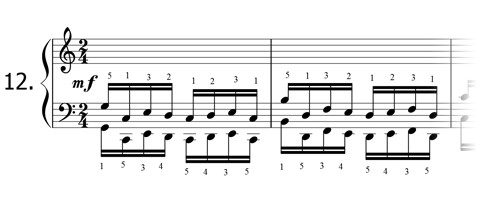 Piano technique exercise N°12 in C
