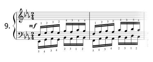 Piano technique exercise N°9 in Eb