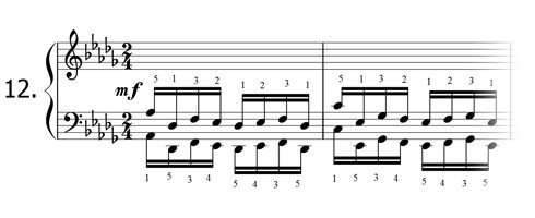 Piano technique exercise N°12 in Db