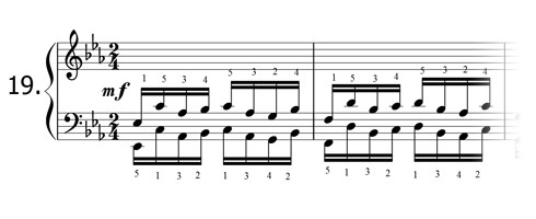 Piano technique exercise N°19 in Eb