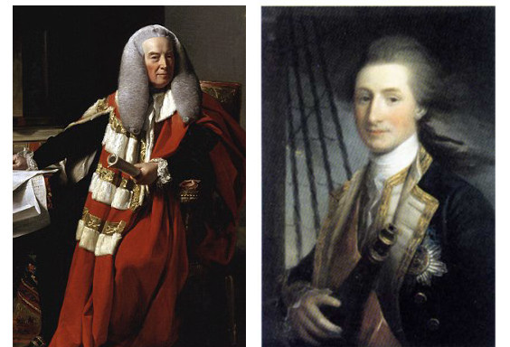 The first Earl of Mansfield 叔父のマンスフィールド伯爵と、父ジョン・リンゼイ Admiral Sir John Lindsay