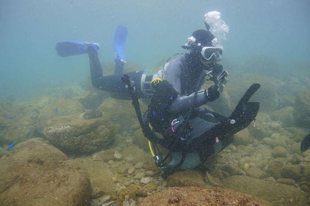 水中スキューバ器材脱着練習(タンクが外れたときや海藻などの水中拘束対応)