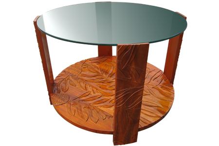 アカシアウッド ロイヤル ラウンドグラストップ コーヒーテーブル