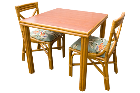 Rattan 4 Square Leg Dining Table