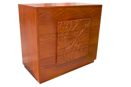 Mahogany 3 Drawer Carving Chest (Monstera)