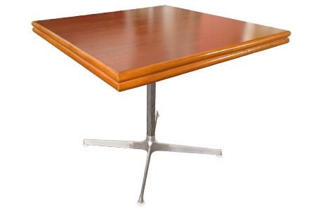 ラタン マホガニー トップメタルレッグ カフェテーブル