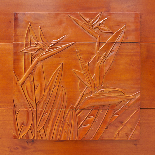 Mahogany 3 Drawer Carving Chest (Bird of Paradise)