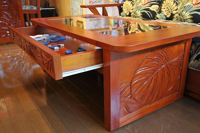 マホガニーグラストップコレクションコーヒーテーブル