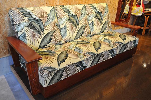 Mahogany front carving sofa three-seat