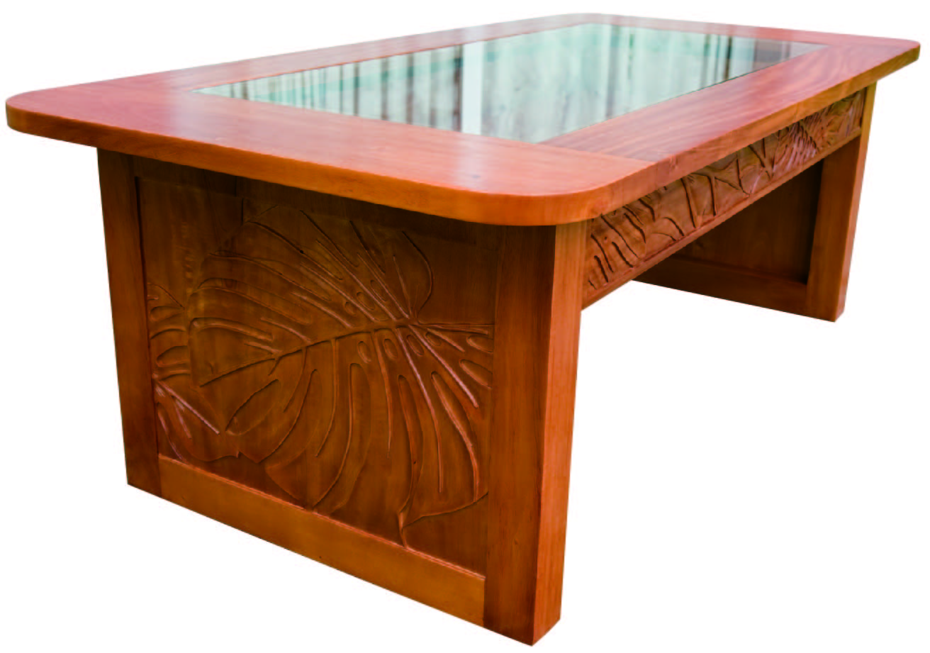 Mahogany Glass Top Collection Coffee Table