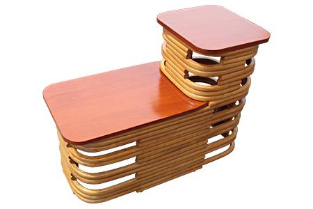 Ratan mahogany top step end table