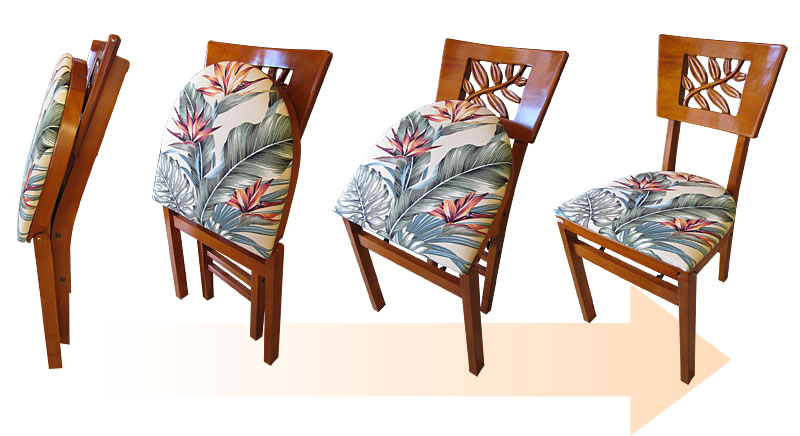 Tropical Reef Carving Folding Chair