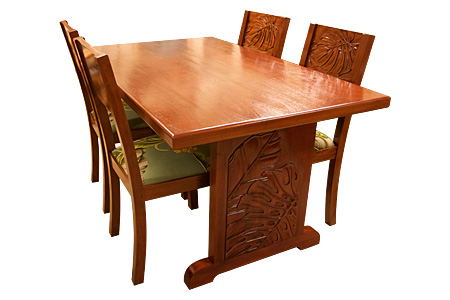 Mahogany carving dining chair (Monstera)