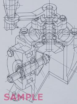 1級 テクニカルイラストレーションCAD 課題の作図例