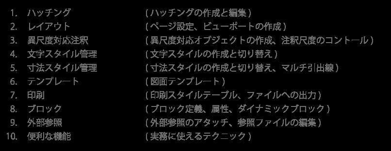 AutoCAD入門基礎パック2日目のカリキュラム。AutoCAD個別基礎講座と同様の内容です。