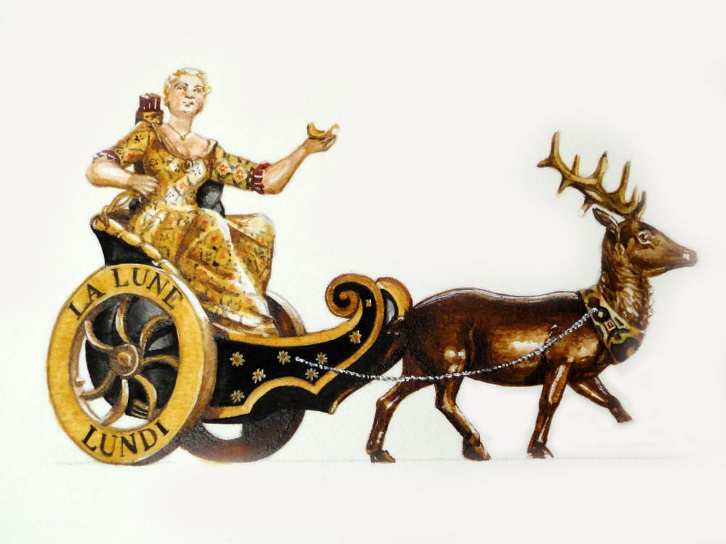 Lunedì: il carro della Luna guidato da Diana