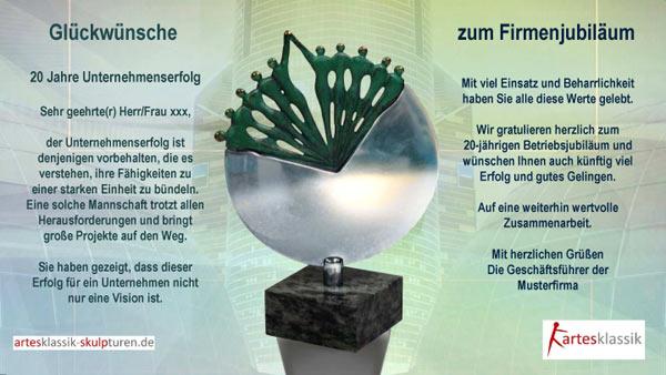 Glückwünsche Zum Firmenjubiläum Artesklassik Skulpturen