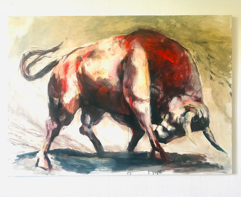 """""""BULL and bear"""", Acrylmalerei auf Leinwand 100x150cm, 2017"""