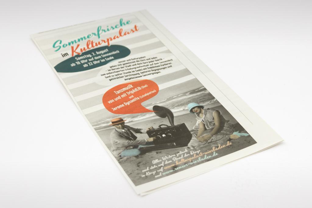 Anzeige Sommerfrische-Party für sensor Stadtmagazin und Kulturpalast