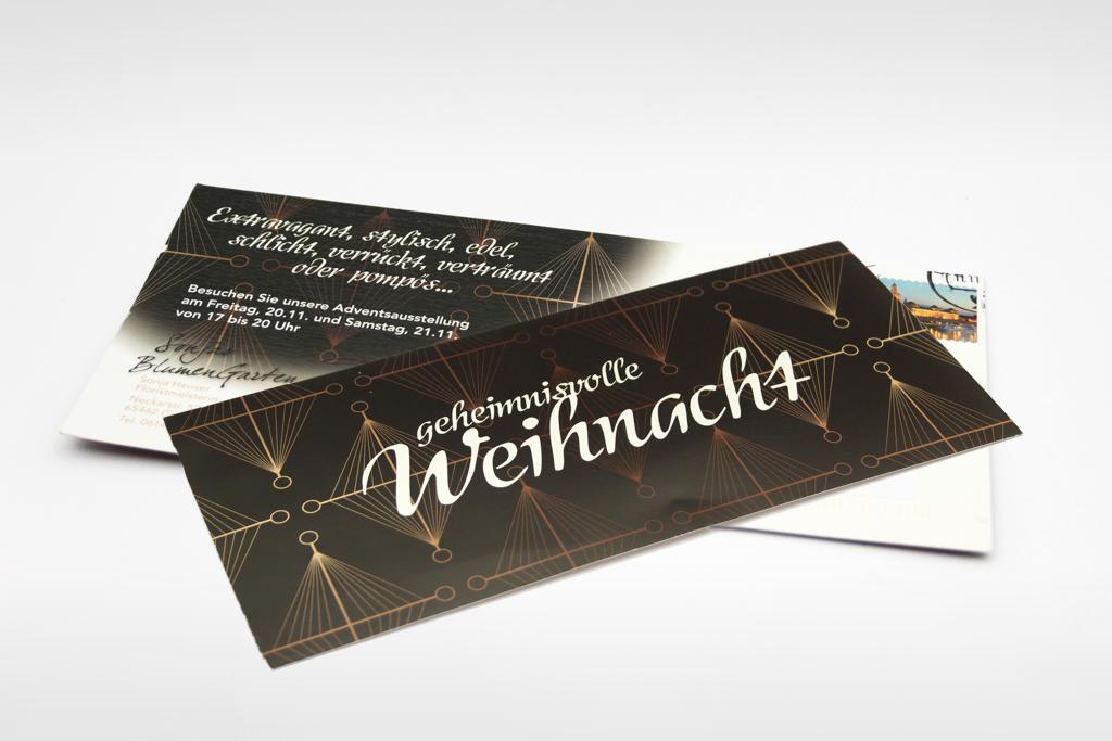 Einladung Weihnachtsausstellung auf Perlmuteffekt-Karton