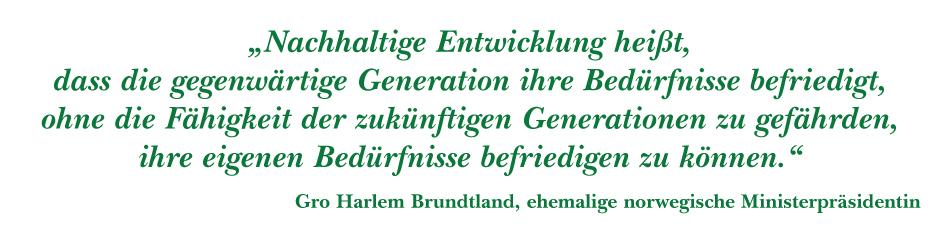 Definition Nachhaltige Entwicklung von Bro Harlem Brundtland