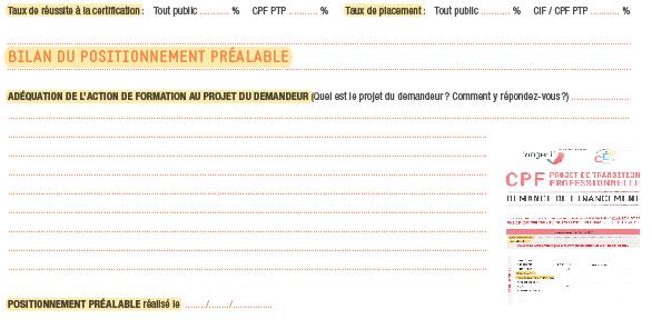 """Extrait """"positionnement préalable"""" du dossier CPF de transition à remplir - des évolutions sont possibles"""