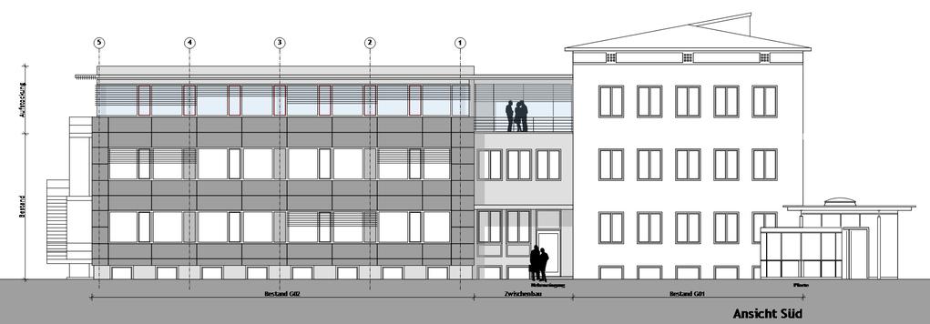Eingabe- und Werkplan, Aufstockung Bürogebäude.