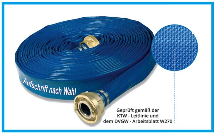Beim Einsatz von Trinkwasserschläuchen für Notversorgungen werden oft auch größere Nennweiten benötigt.  Für diesen Bereich bieten wir KEBI - Trinkwasserschläuche, KTW - und DVGW - W 270 geprüft, mit beiderseits eingebundenen Storz - Kupplungen in folgend