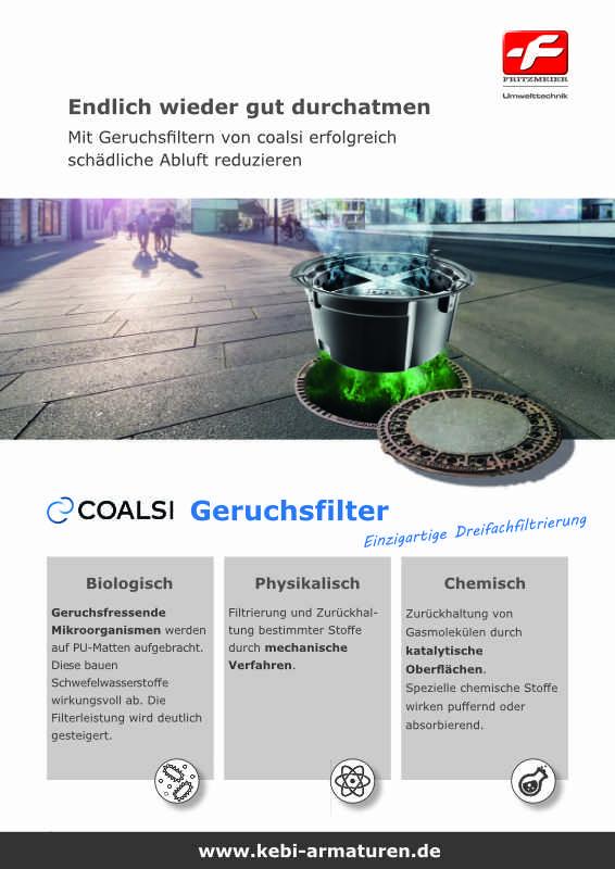 Die coalsi  Produktreihe bietet vielfältige Kanalschachtfilter, die überwiegend für die wirksame Geruchssperre in Abwasser-Kanälen eingesetzt werden. So bildet die coalsi Geruchssperre, entwickelt für Abwasser-Kanal-Schächte, eine wirtschaftliche und effi