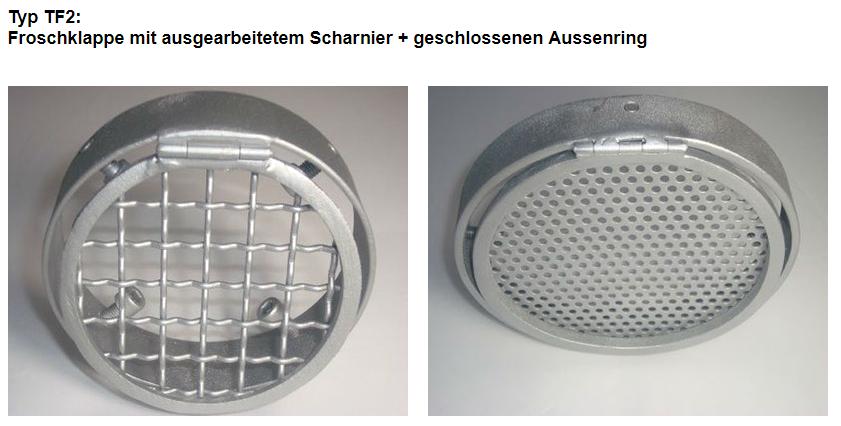 Typ TF2: Froschklappe mit ausgearbeitetem Scharnier + geschlossenen Aussenring