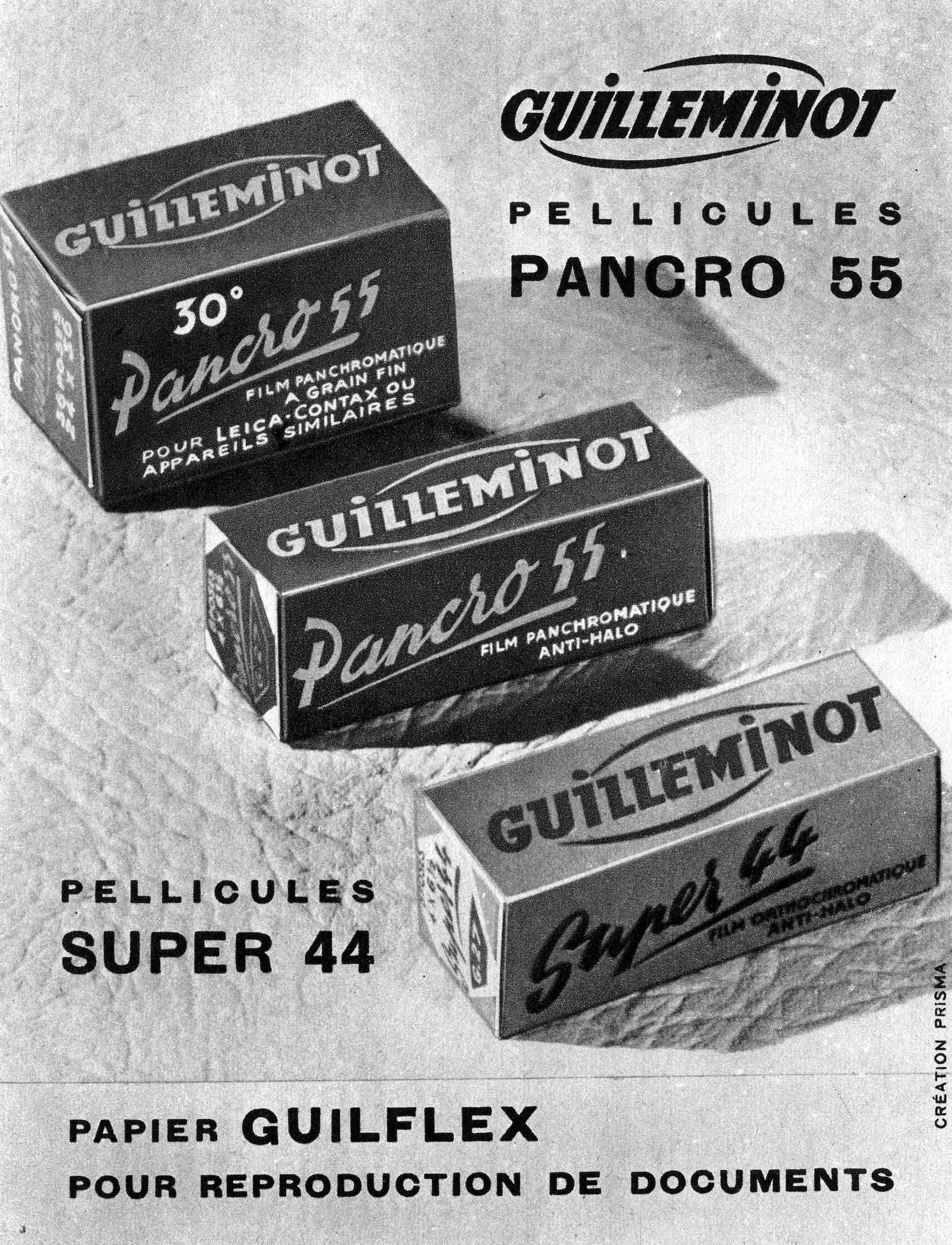 Publicité 1952 pour papiers photographiques GUILLEMINOT