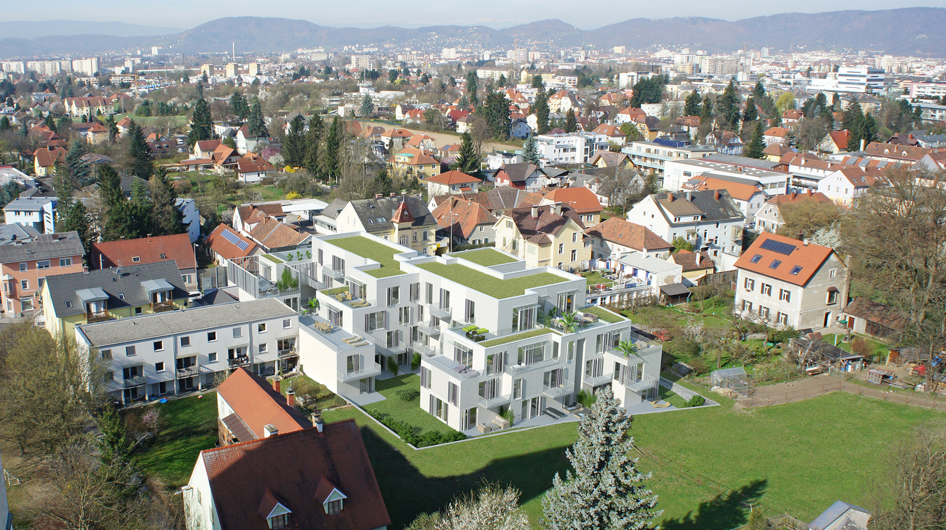 Drohnenrendering Blick über Graz