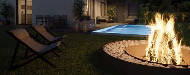 Rendering einer gemütliche Feuerstelle im eigenen Garten