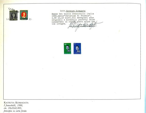 「I frenbobolli(切手)」1990-2016、カラーコピーに穴,収入印紙、 A4(210x297cm)