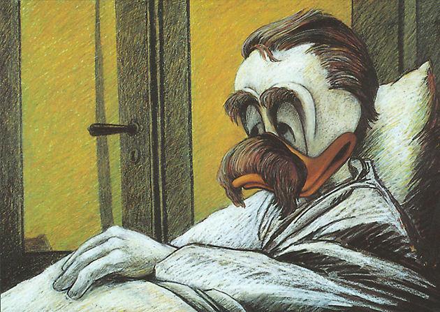 """Postkarte """"Der Philosoph auf seinem Sterbebett"""""""