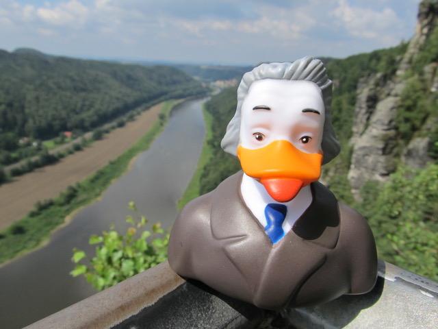 DUCKSTEIN – der intelligenteste Erpel der WELT! Ein frecher & unbequemer Bade-Erpel, mit erschreckend hohem IQ. Hier beim Wandern im Elbsandsteingebirge mit Blick auf die Elbe.