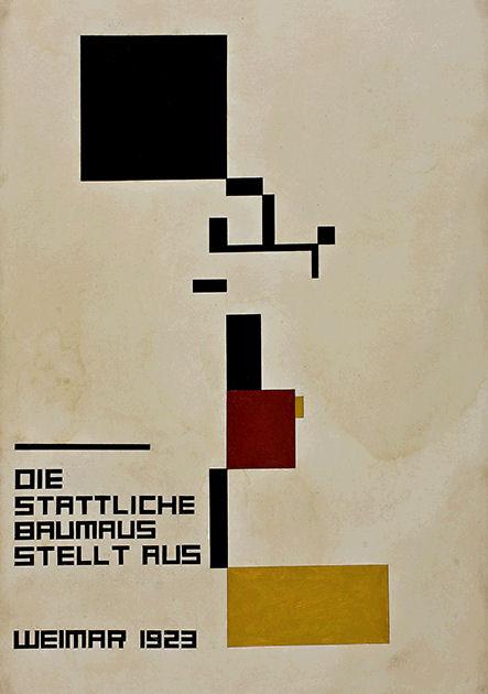 """Postkarte """"Plakat zur Baumaus-Ausstellung, 1923"""""""