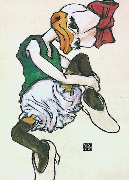"Postkarte ""Schiele's Sitzende"""