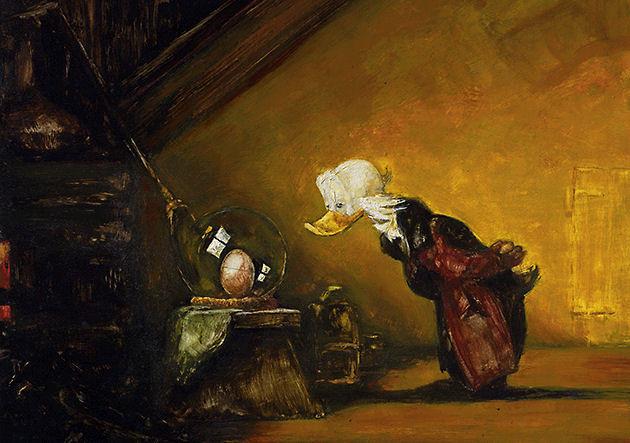 """Postkarte """"Der Alchimist"""" , nach Carl Spitzmaus"""