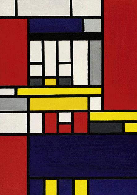 """Postkarte """"Komposition mit Gelb, Rot, Blau, Schwarz und Grau"""""""