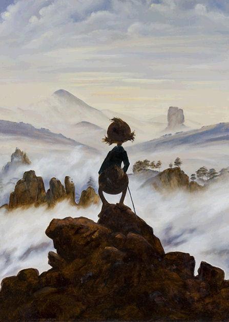 "Postkarte ""Wanderer über dem Nebelmeer"""